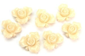 Cream Open Rose Hand Crafted Gemstone Flowers