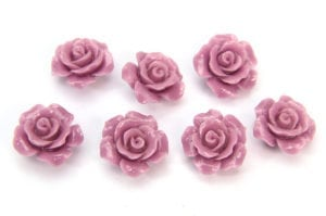 Antique Lilac Open Rose Hand Crafted Gemstone Flowers