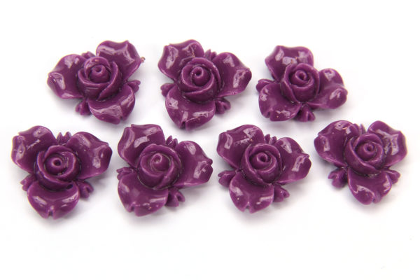 Violet Open Rose Hand Crafted Gemstone Flowers