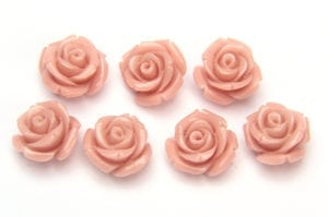 Antique Pink Rose Hand Crafted Gemstone Flowers