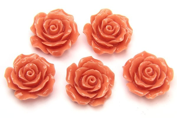Light Coral Open Rose Hand Crafted Gemstone Flowers