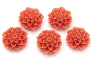 Coral Chrysanthemum Hand Crafted Gemstone Flowers