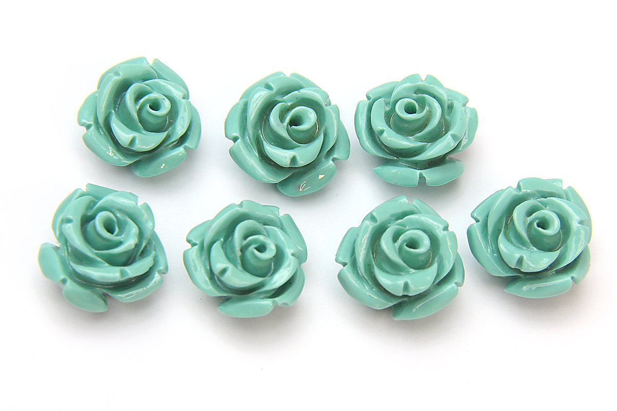 Turquoise Rose Hand Crafted Gemstone Flowers