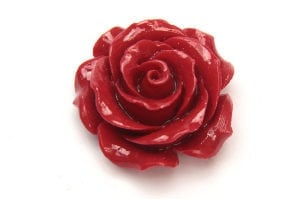 Red Open Rose Hand Crafted Gemstone Flowers