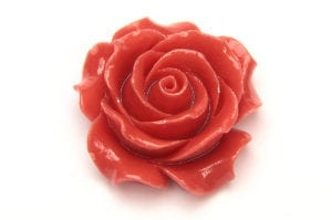 Coral Open Rose Hand Crafted Gemstone Flowers