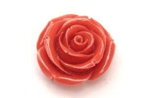 Coral Rose Hand Crafted Gemstone Flowers
