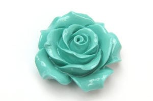 Turquoise Open Rose Hand Crafted Gemstone Flowers
