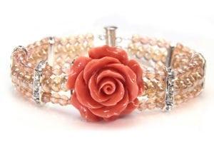Coral Champagne Crystal Rose Bracelet