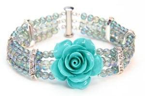 Turquoise Mist Crystal Rose Bracelet