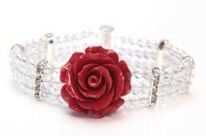 Valentine Red Crystal Rose Bracelet
