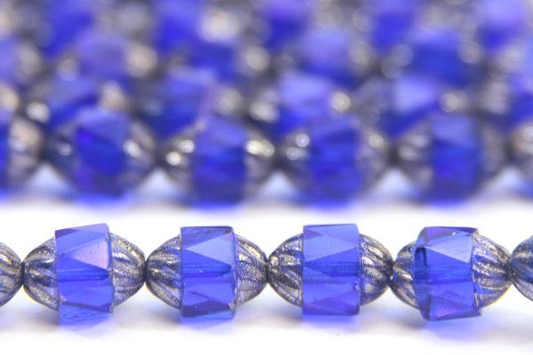 Royal Blue Firepolish, Silver Crowned Czech Bols