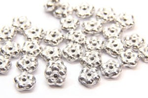 Metallic Silver Czech Glass Daisy Spacers