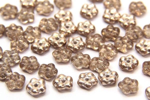 Light Metallic Gold Czech Glass Daisy Spacers