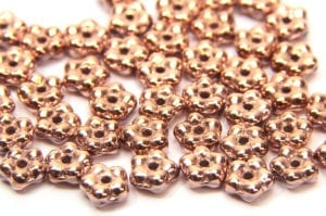 Metallic Rose Gold Czech Glass Daisy Spacers