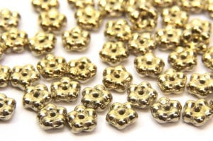 Metallic Gold Czech Glass Daisy Spacers