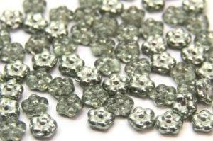 Metallic Mint Czech Glass Daisy Spacers