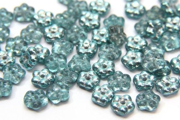 Metallic Aqua Czech Glass Daisy Spacers