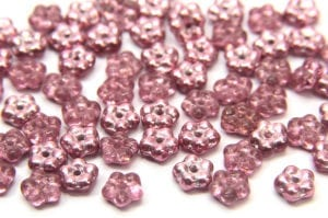 Metallic Raspberry Czech Glass Daisy Spacers