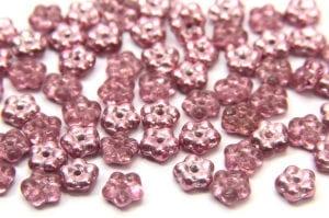 Metallic Raspberry Czech Glass Daisy Spacers