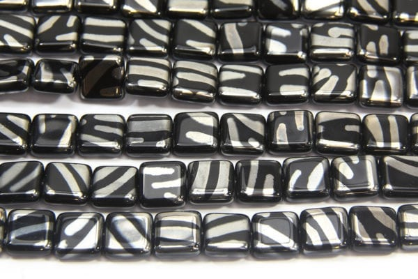 Black Square with Silver Stripe Peacock Beads