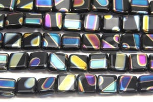 Black Square with Rainbow AB Striped Peacock Beads