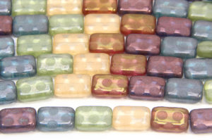 Lustre Mix Rectangle with Frosted Polka Dot Peacock Beads