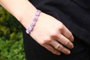Silver Lilac Crystal Tiffany Bracelet