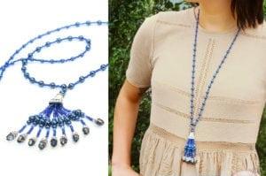 Sapphire Gatsby Tassel Necklace
