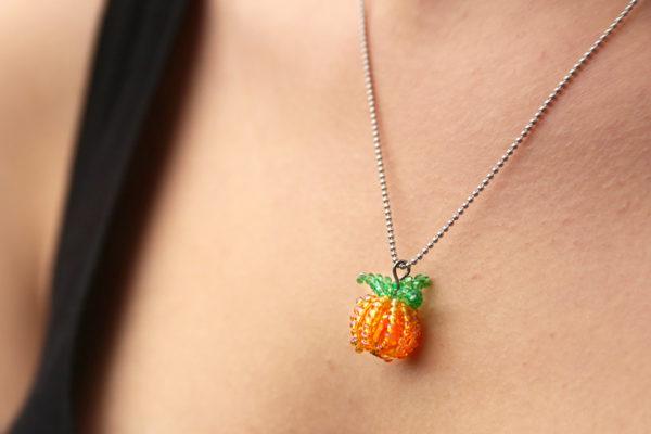 Jack-O-Lantern Pumpkin Charm Necklace and Earrings Kit