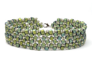 Metallic Moss Dancing Cubes Bracelet