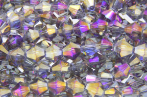 Purple Black Diamond AB Crystal Bicones