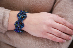 Peacock Blue Brocade Bracelet