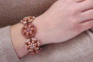 Copper Rose Brocade Bracelet
