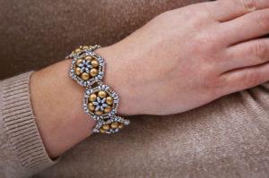 Silver Gold Brocade Bracelet