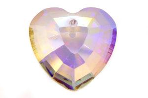 Violet Gold Heart Crystal Pendant
