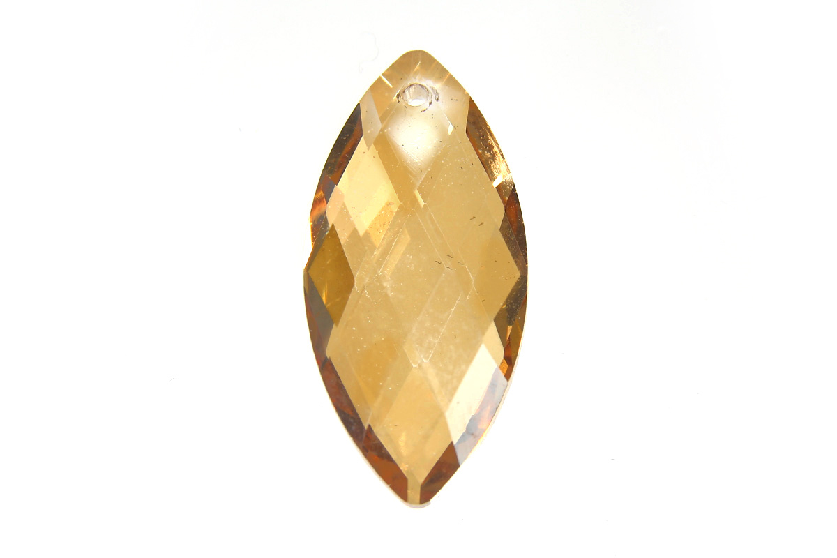 Lustre Gold Amber Diamond Drop Crystal Pendant