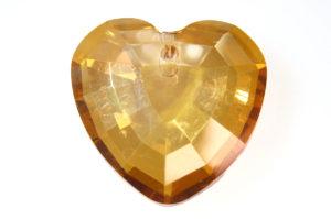 Lustre Gold Amber Heart Crystal Pendant