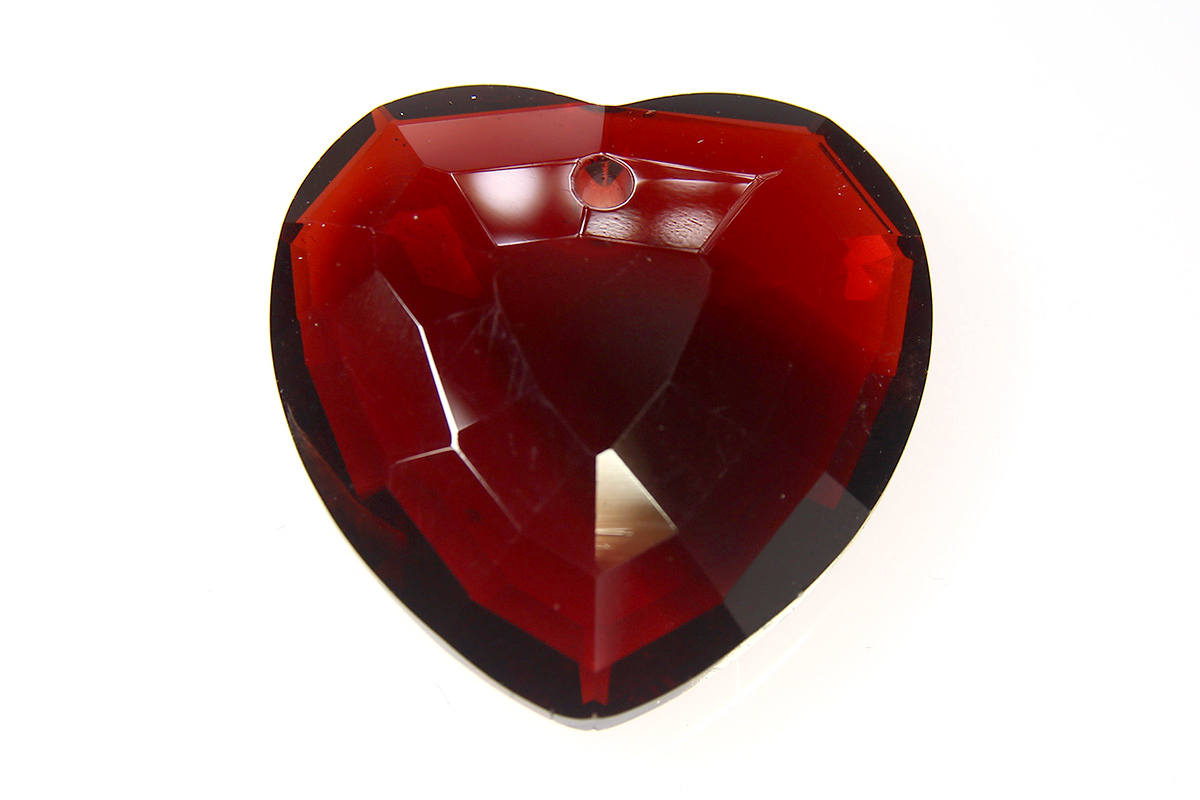 Deep Garnett Heart Crystal Pendant