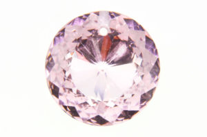 Shining Pale Rose Coin Crystal Pendant