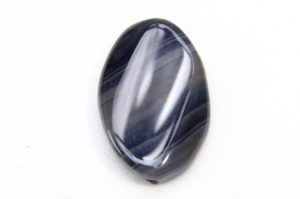 Black Banded Agate Oval Focal Bead