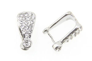 Silver Crystal Focal Pinch Bails