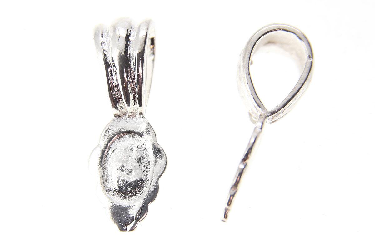 Silver Fluted Leaf Glue On Bails