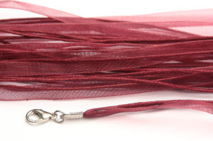 Burgundy Silk Organza Ribbon Necklace