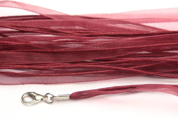 Burgundy Silk Organza Ribbon Necklace