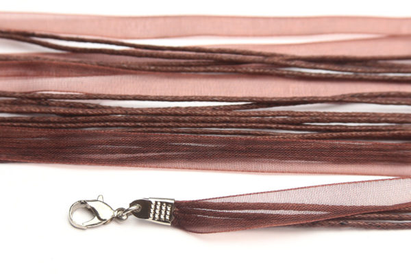 Saddle Brown Silk Organza Ribbon Necklace