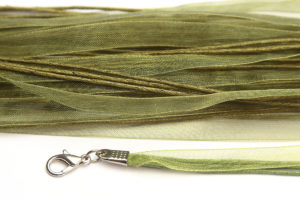 Olivine Silk Organza Ribbon Necklace