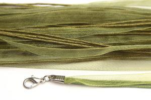 Olivine Silk Organza Ribbon Necklace