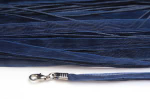 Navy Blue Silk Organza Ribbon Necklace