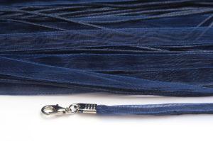 Navy Blue Silk Organza Ribbon Necklace