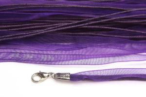 Deep Purple Silk Organza Ribbon Necklace